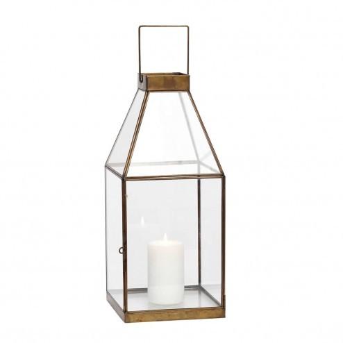 Hubsch rechthoekige lantaarn van glas en messing, 48cm