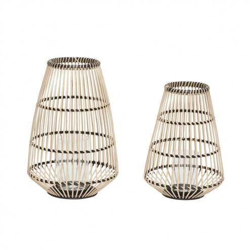 Hubsch lantaarns van bamboe en hout (set van 2)