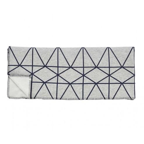 Hubsch gebreide plaid in grijs met geometrisch patroon