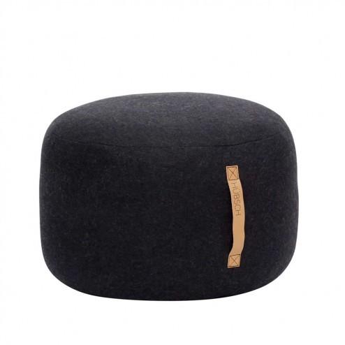 Hubsch ronde poef van zwarte wol, ø50cm