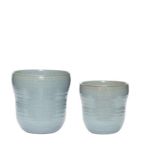 Hübsch bloempotten van blauw keramiek, set van 2