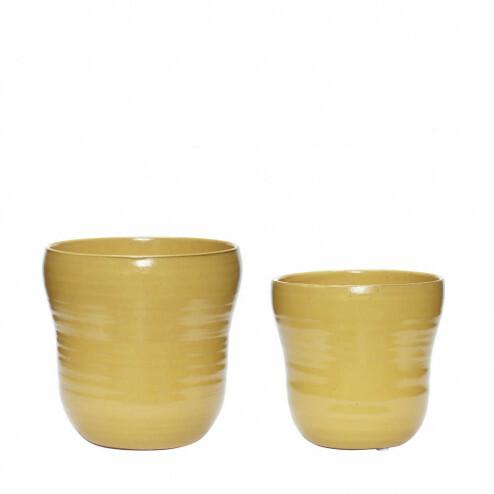 Hübsch bloempotten van geel keramiek, set van 2