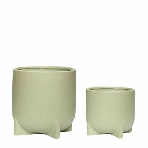 Hübsch bloempotten van groen keramiek, set van 2