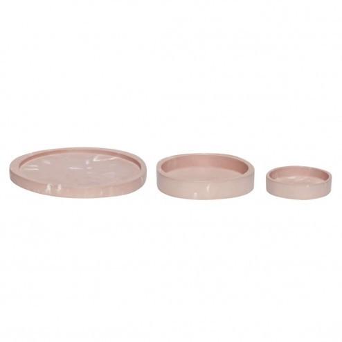 Hübsch ronde dienbladen van roze keramiek, Ø11-24cm