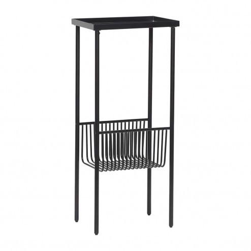 Hübsch side table van metaal, mat zwart, smal