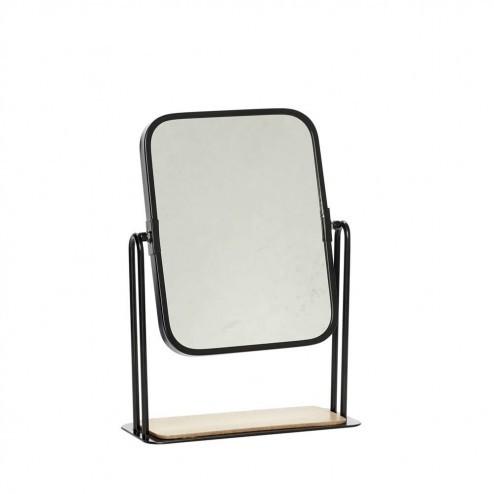 Hubsch tafelspiegel van metaal 27cm, zwart