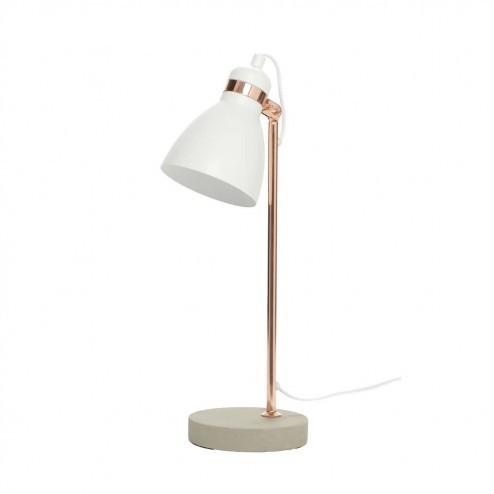 Hubsch bureaulamp met witte kap, beton en messing