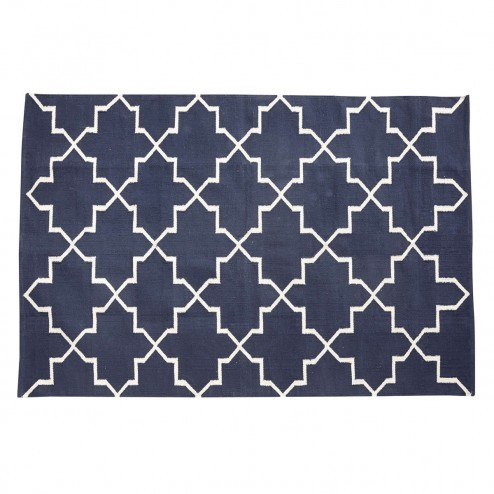 Hübsch vloerkleed van blauw katoen