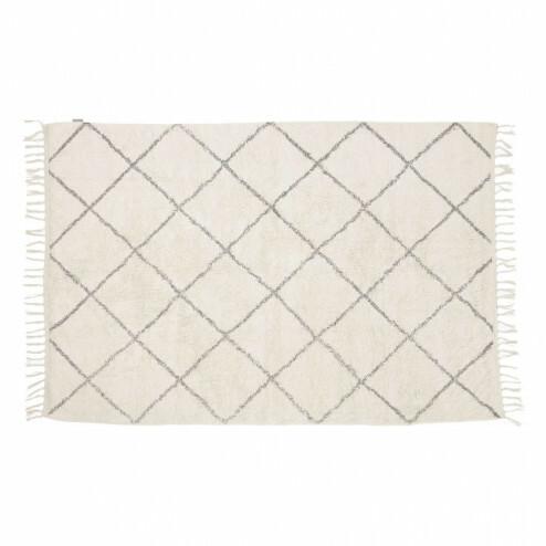 Hübsch vloerkleed van wit geruit katoen, 120x180cm
