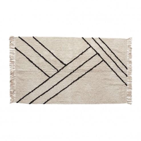 Hübsch vloerkleed van wit/zwart katoen, 96x180cm