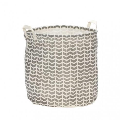 Hübsch wasmand van grijs/wit textiel, ø40cm