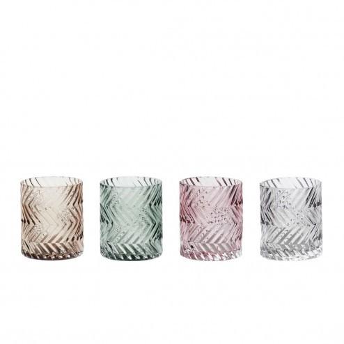 Hübsch theelichthouders van bewerkt glas (set van 4)
