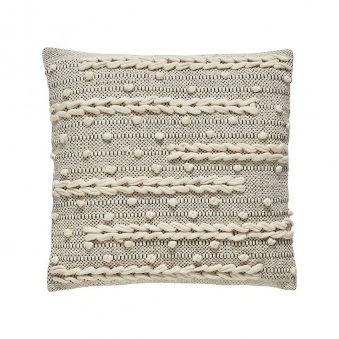 Hübsch naturel zitkussen van katoen, 45x45cm