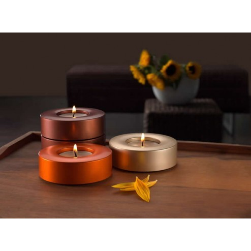 Candela waxinelicht houders in maroon, orange en gold