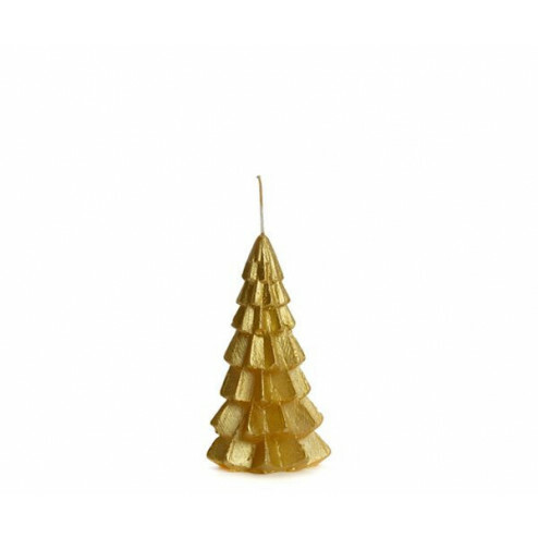 Rustik Lys kerstboom kaars, 6.3x12cm, goud