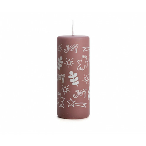 Rustik Lys kerstkaars Joy, 6x15cm, plum