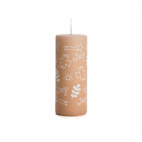 Rustik Lys kerstkaars Joy, 6x15cm, skin
