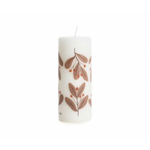 Rustik Lys kerstkaars Twig, 6x15cm, plum