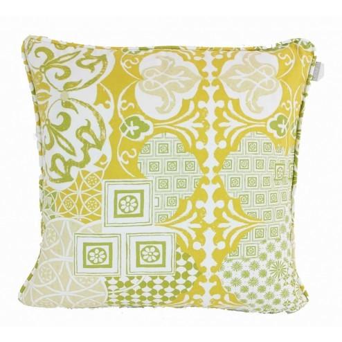 Linum kussenhoes Mosaique, groen/geel 50x50cm