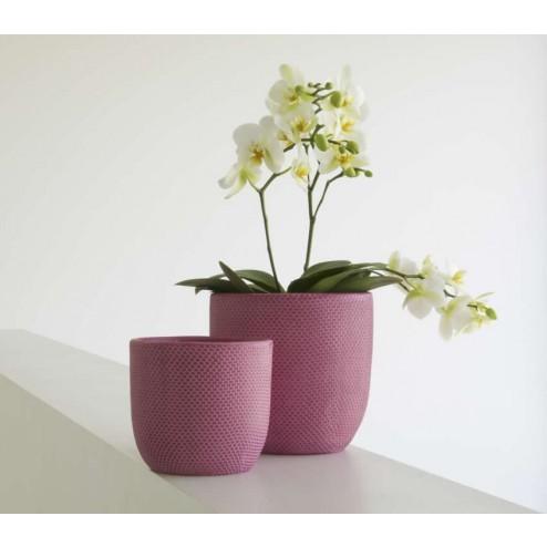 Bloempotten Micmac, fuchsia roze keramiek (met reliëf)-D&M-32