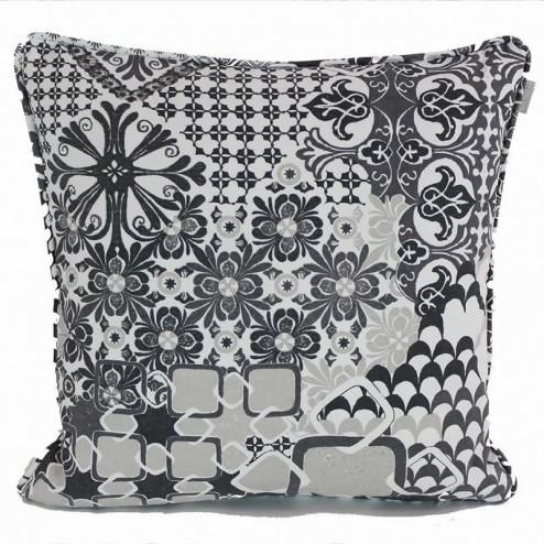 Linum kussenhoes Mosaique, grijs 50x50cm