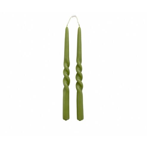 Rustik Lys Twist dinerkaarsen (set van 2) olijfgroen 2,1x29cm