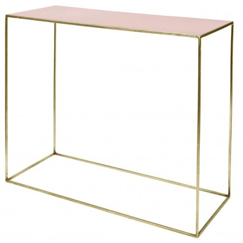 Broste Copenhagen side table Freja, messing en roze