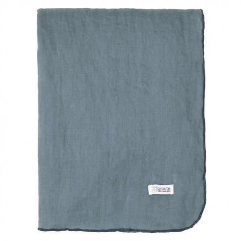 Tafelkleed Gracie van ECO linnen, petrol blauw