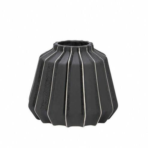 Hubsch zwarte keramieken vaas, ø19x17cm
